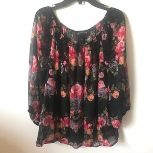 Floral black and pink woman top